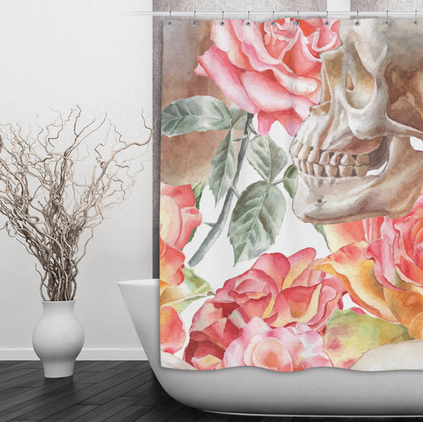 Watercolor Skull Shower Curtain with Pink Roses - Ink and Rags