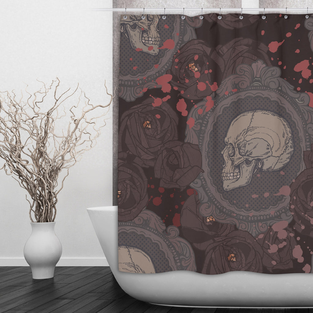 Cameo Skull Shower with Dark Roses Curtains and Bath Mats