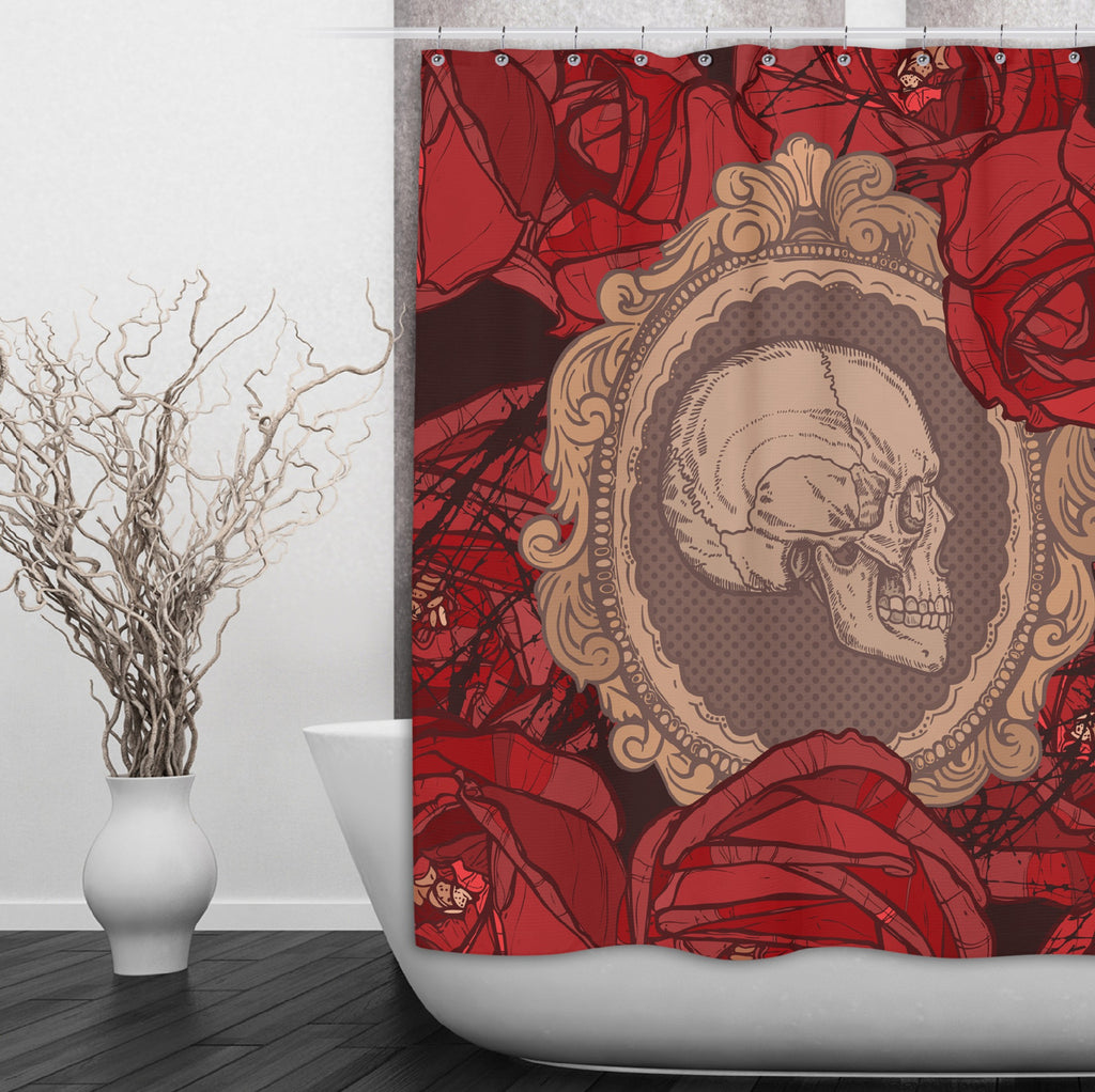 Cameo Skull with Red Roses Shower Curtains and Optional Bath Mats