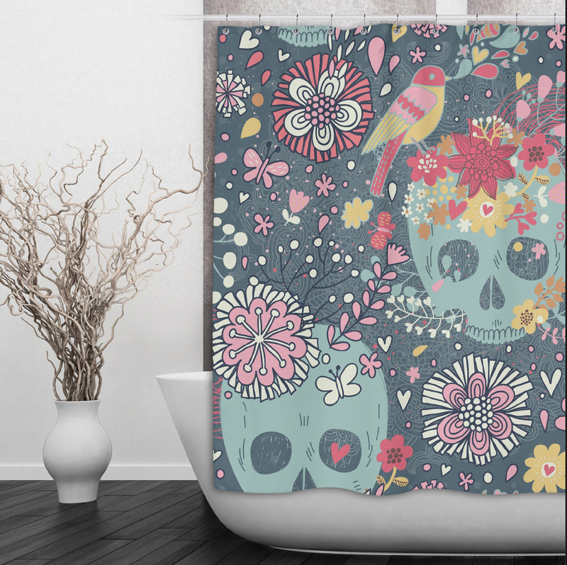 Sugar Skull with Woodland Flowers Shower Curtains and Bath Mats