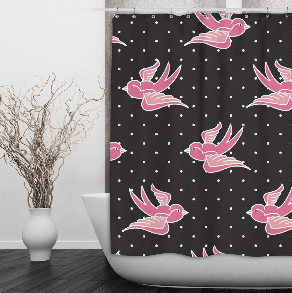 Rockabilly with Pin Dot and Pink Swallows Shower Curtains and Optional Bath Mats