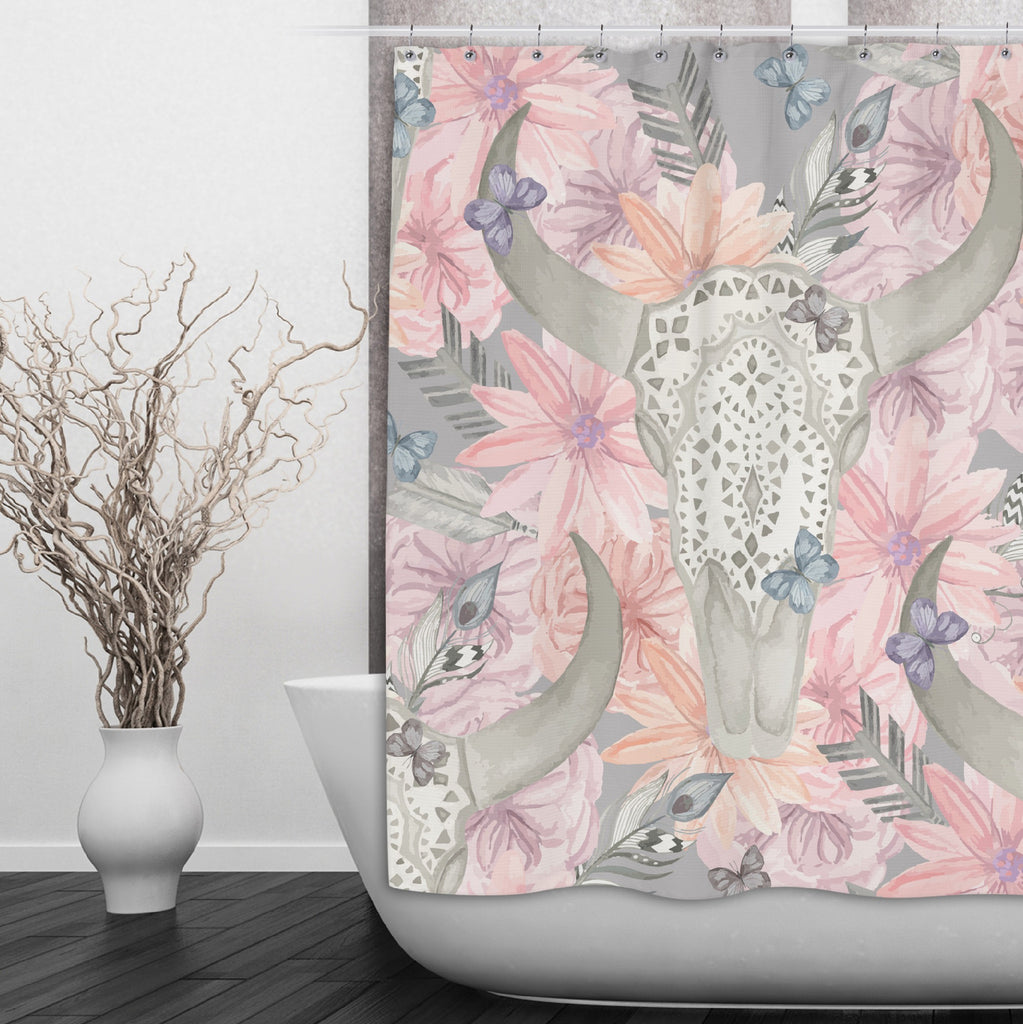 Longhorn Skull with Lace and Pink Flowers Shower Curtains and Optional Bath Mats