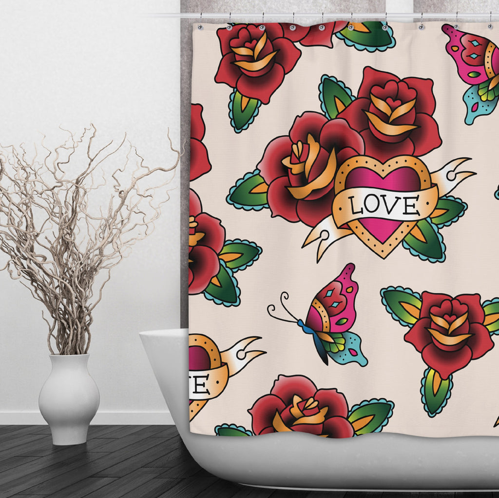 Rockabilly with Love Heart and Rose Design Shower Curtains and Optional Bath Mats