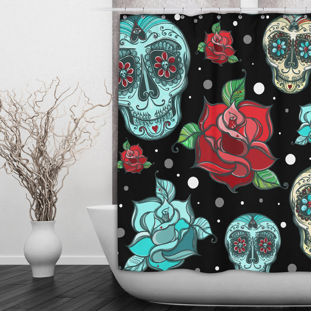 Teal Sugar Skull with Red Roses Shower Curtains and Optional Bath Mats