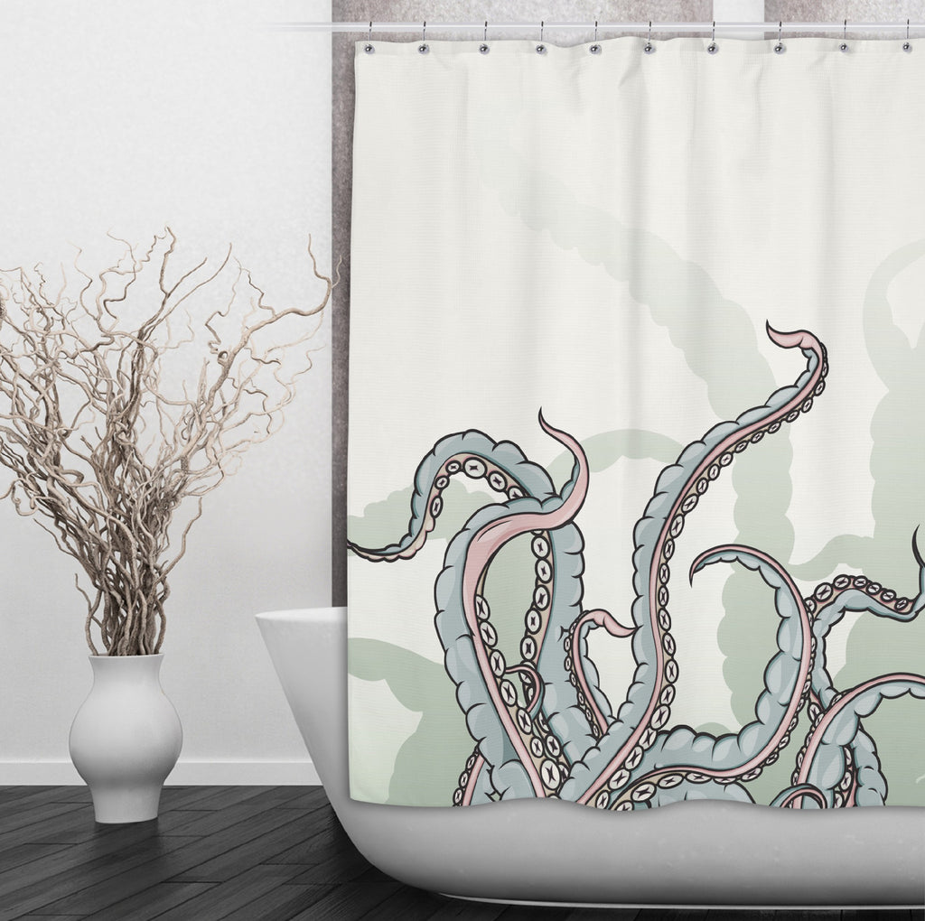 Watercolor Octopus Tentacle Shower Curtains and Optional Bath Mats
