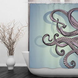 Purple & Teal Octopus Shower Curtains and Bath Mats