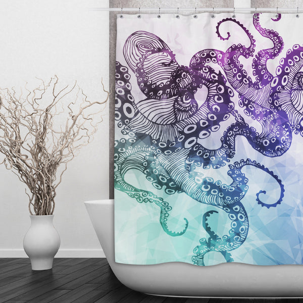 Modern Watercolor Octopus Shower Curtain and Bath Mat