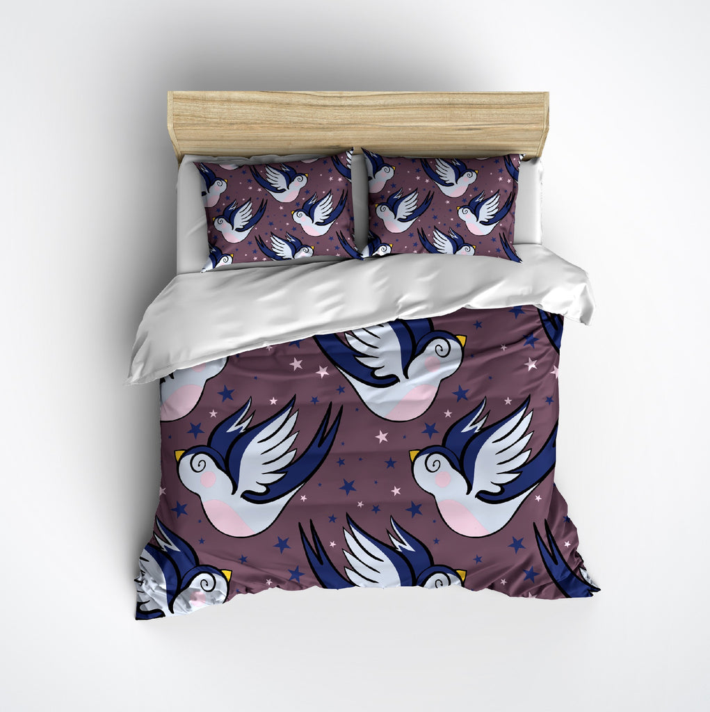 Swallows and Stars Rockabilly Bedding