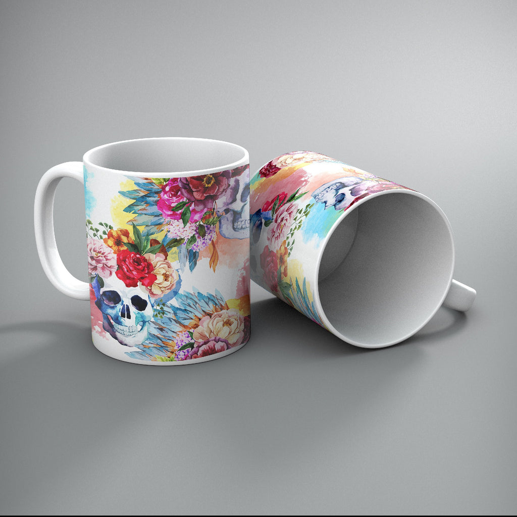 Bright Watercolor Flower and Skull Mug Set of 2