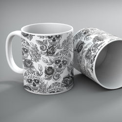The Original White Sugar Skull Mug Set of 2