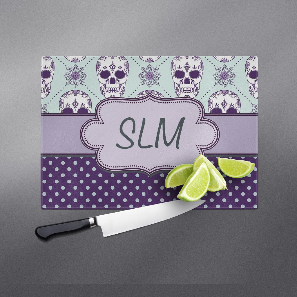 Ice Blue and Purple Dot Personalized Sugar Skull Cutting Boards