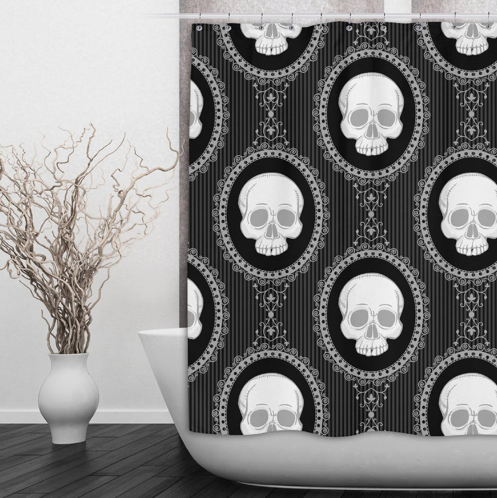 Black and White Cameo Skull Shower Curtains and Optional Bath Mats