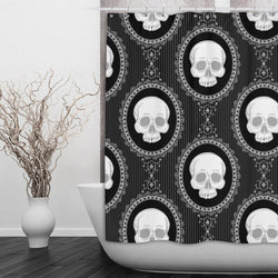 Black and White Cameo Skull Shower Curtains and Bath Mats