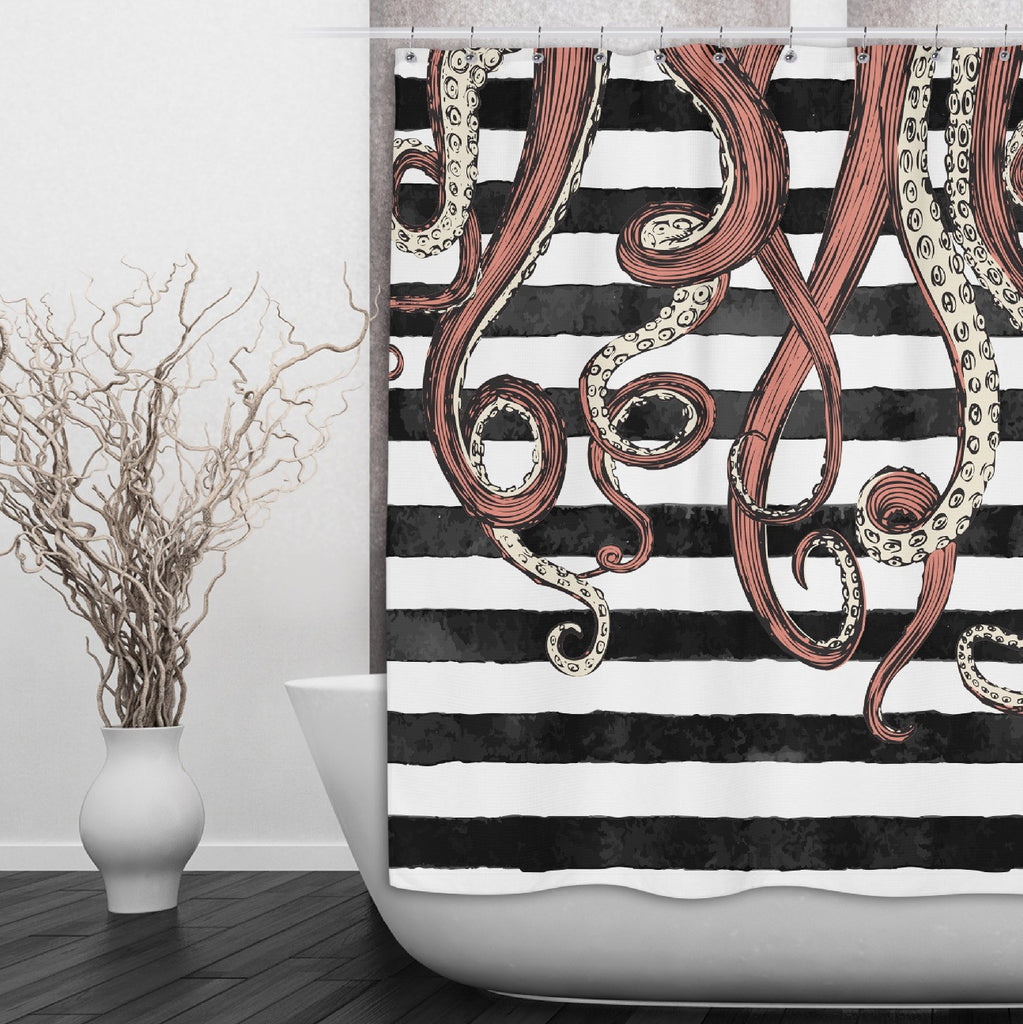 Octopus Tentacle Shower Curtains and Optional Bath Mats