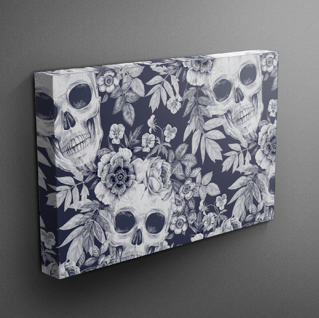Blueprint Skull Gallery Wrapped Canvas