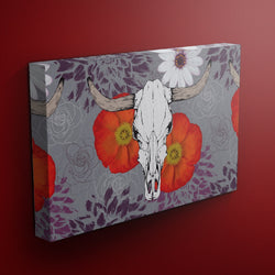 Bull Poppy Skull Gallery Wrapped Canvas