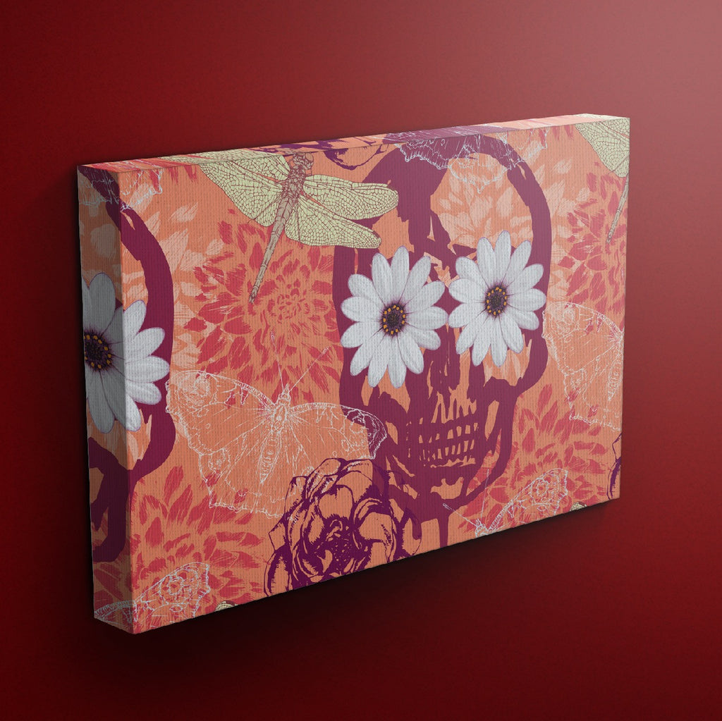 Tangerine Daisy Skull Gallery Wrapped Canvas