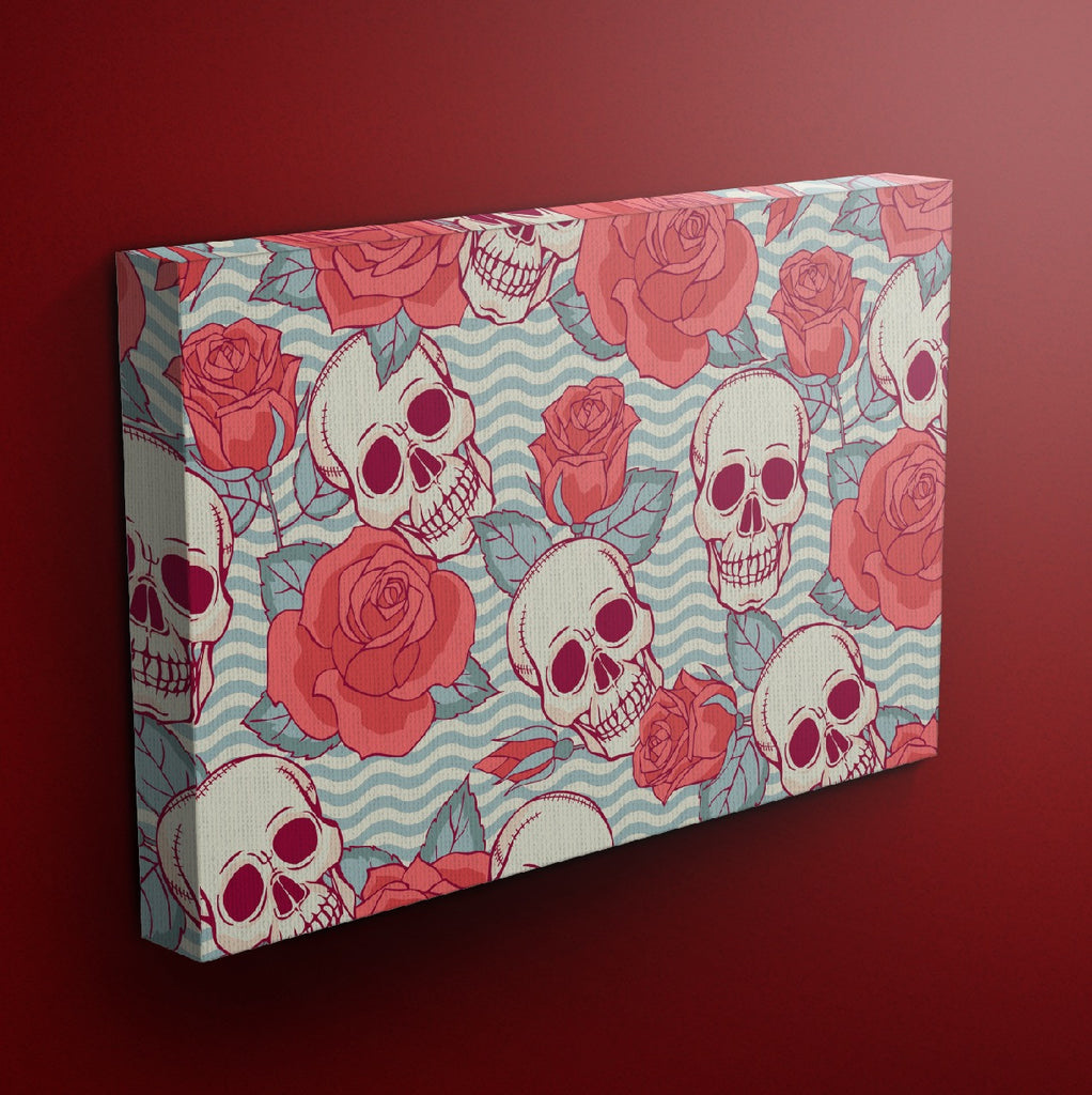 Wavy Chevron Rose Skull Gallery Wrapped Canvas