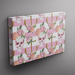 Pink Anchor Rose Skull Gallery Wrapped Canvas