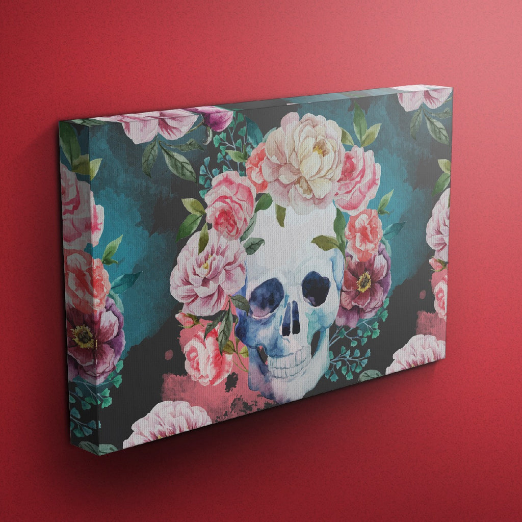 Green Watercolor Skull Gallery Wrapped Canvas