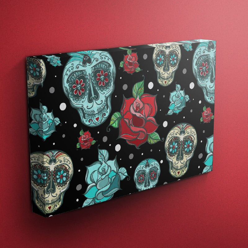 Day of the Dead Turquoise Sugar Skull Gallery Wrapped Canvas