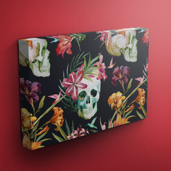 Tropical Lily Skull Gallery Wrapped Canvas