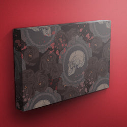 Dark Cameo Rose Skull Gallery Wrapped Canvas