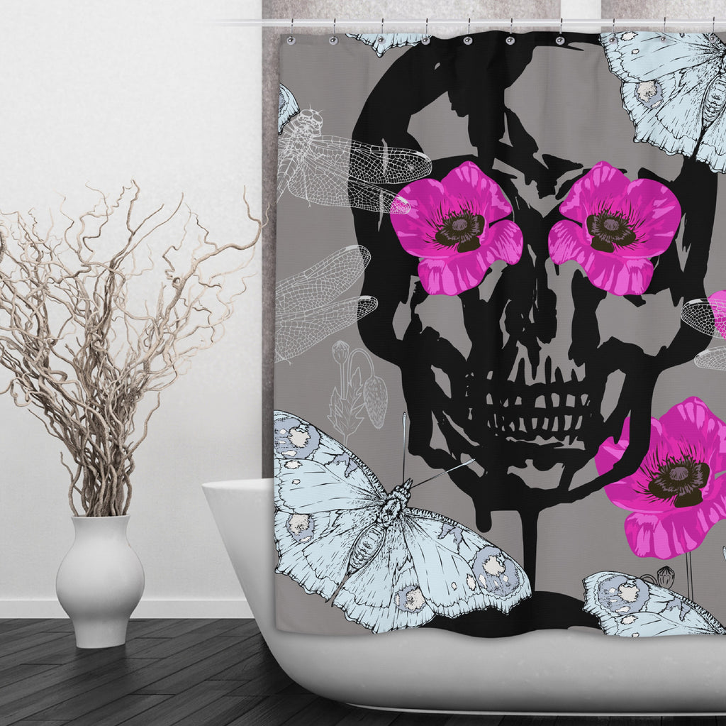 Hot Pink Poppy Skull Shower Curtains and Optional Bath Mats