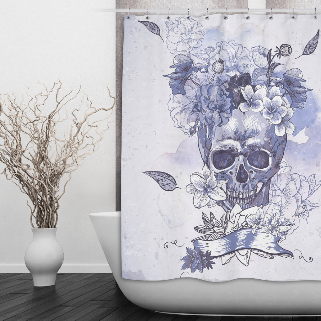 Purple Watercolor Floral Skull Shower Curtains and Optional Bath Mats