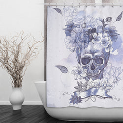Purple Watercolor Floral Skull Shower Curtains and Bath Mats