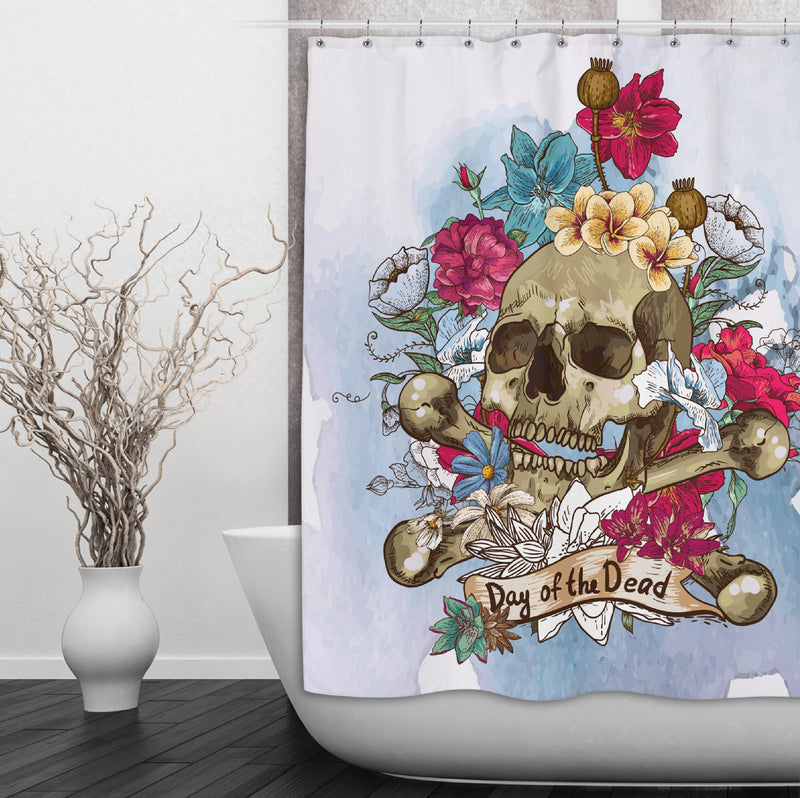 Day of the Dead Floral Skull Shower Curtains and Bath Mats