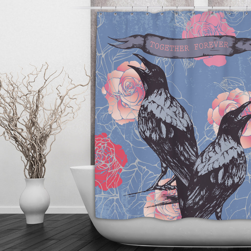 Black Bird Raven Crow Together Forever Shower Curtains and Optional Bath Mats
