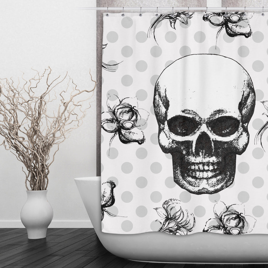 Skull Flower and Polka Dot Shower Curtains and Optional Bath Mats