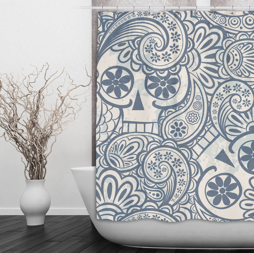 Funky Psychedelic Blue Sugar Skull Shower Curtains and Optional Bath Mats