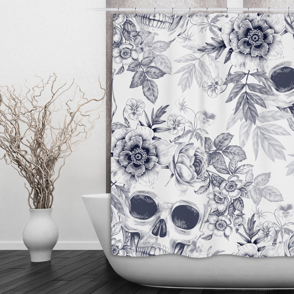 BluePrint on White Flower and Skull Shower Curtains and Optional Bath Mats