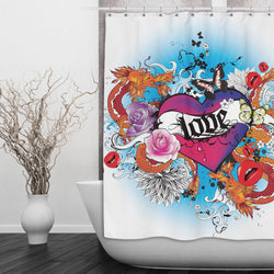 Love Heart Tattoo Shower Curtains and Bath Mats
