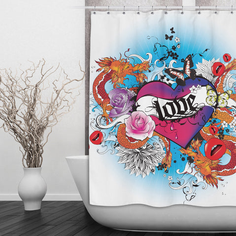 Love Heart Tattoo Shower Curtain
