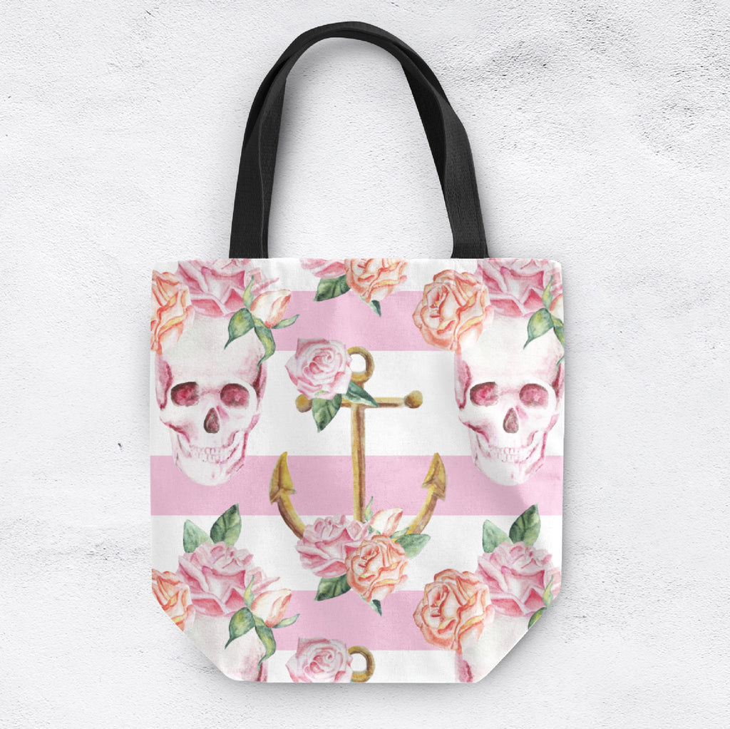 Pink Floral Anchor Stripe Skull Casual Tote