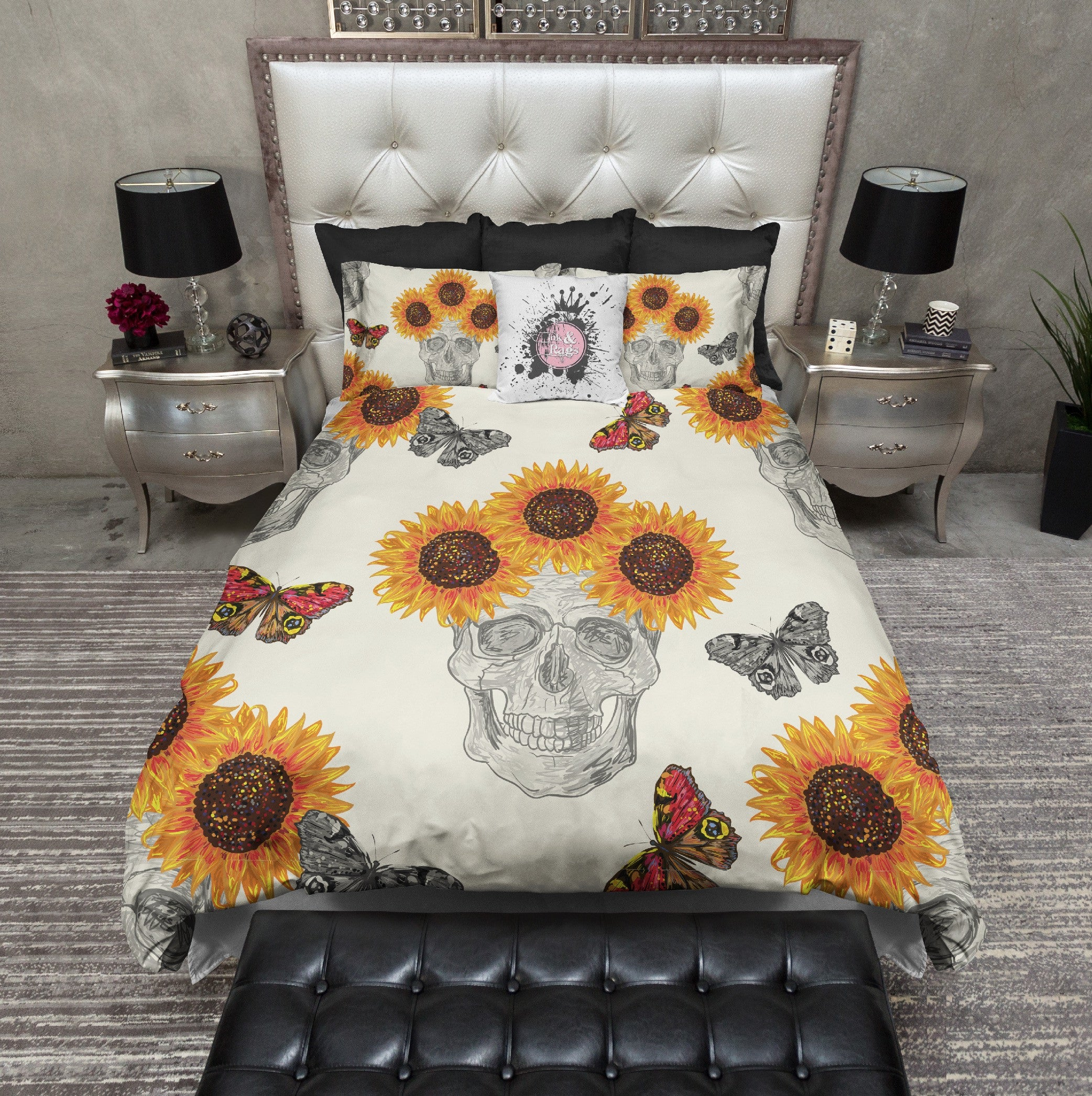 Butterfly Sunflower Skull Bedding Cream Ink And Rags