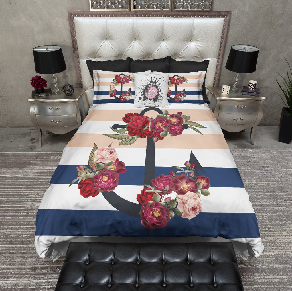 Navy and Peach Stripe Wild Rose Anchor Bedding Collection