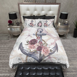 hot sales 869a2 2c43c Anchor Rose Coral Starfish Nautical Bedding