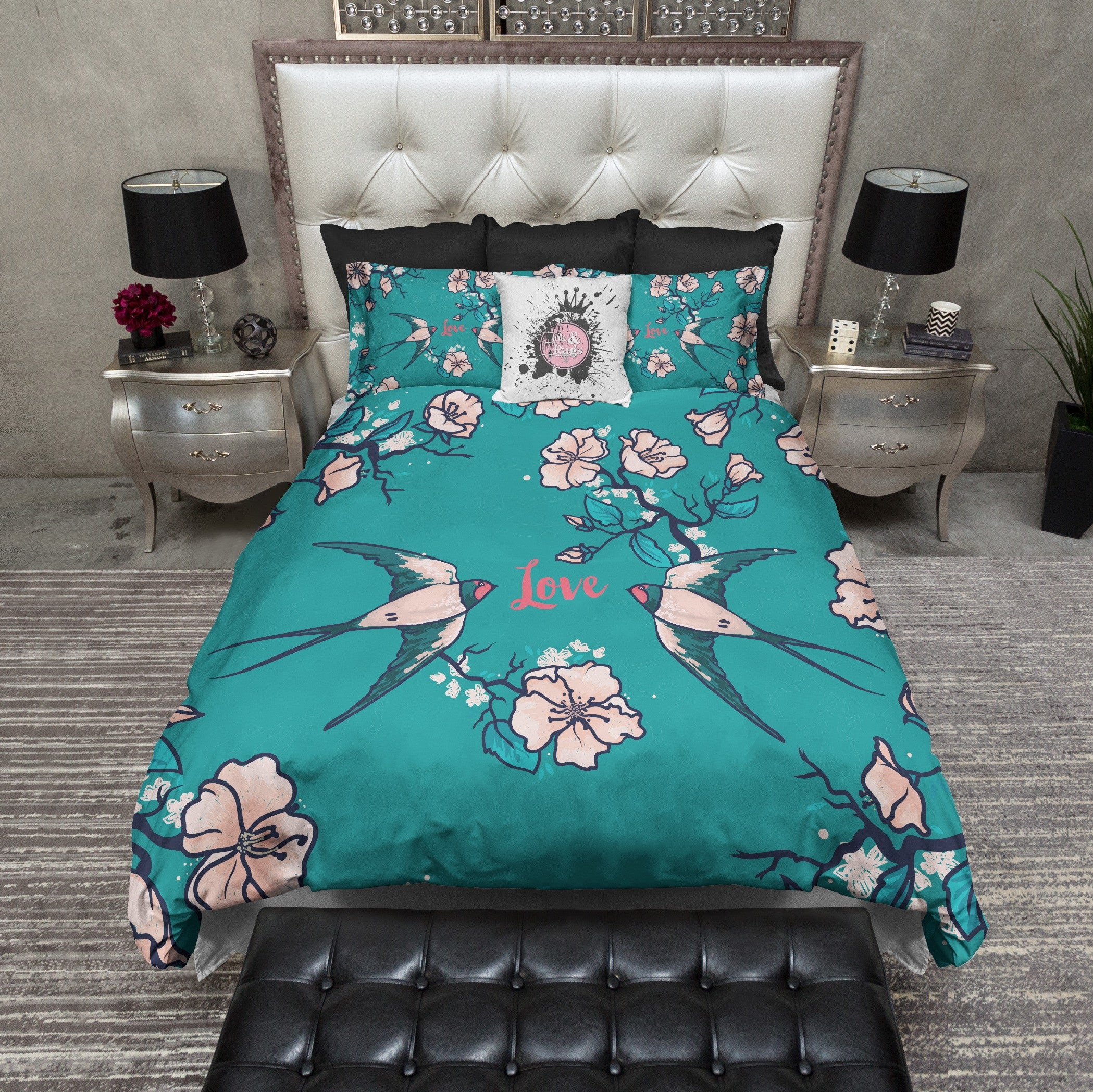 Love Birds Teal Swallow And Cherry Blossom Duvet Bedding