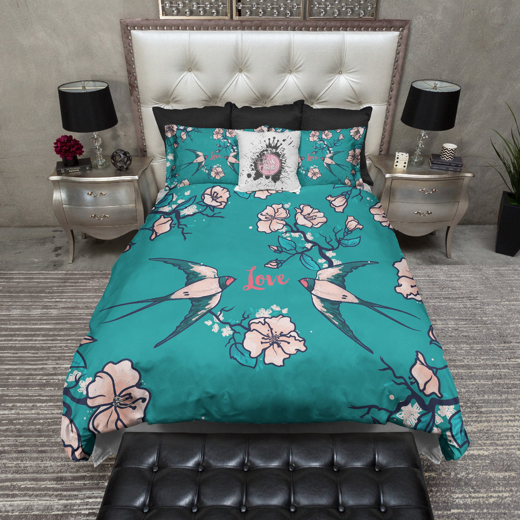 Love Birds Teal Swallow And Cherry Blossom Bedding