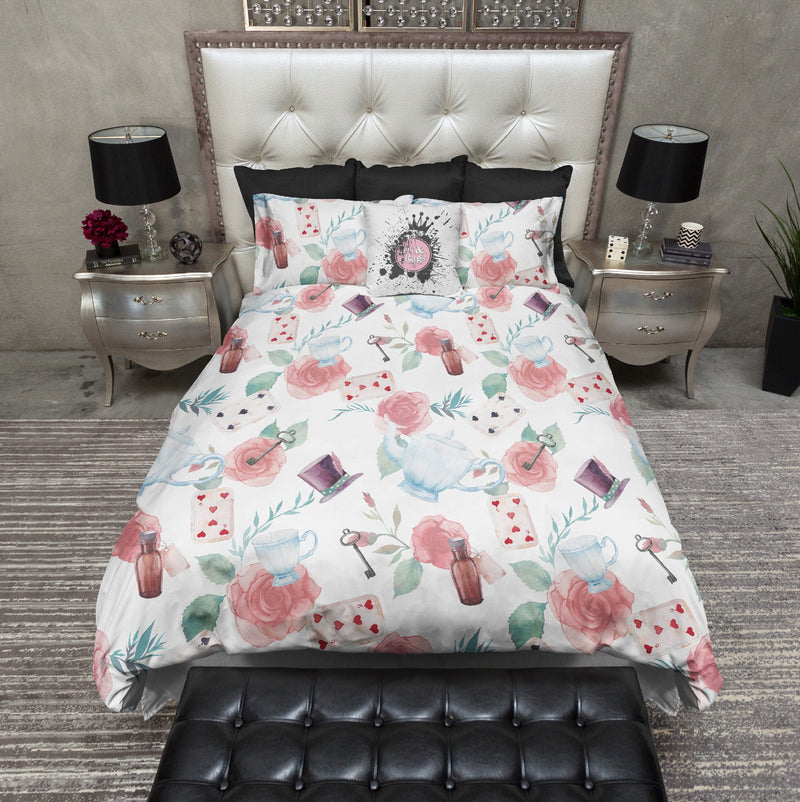 Soft Watercolor Alice in Wonderland Inspired Bedding