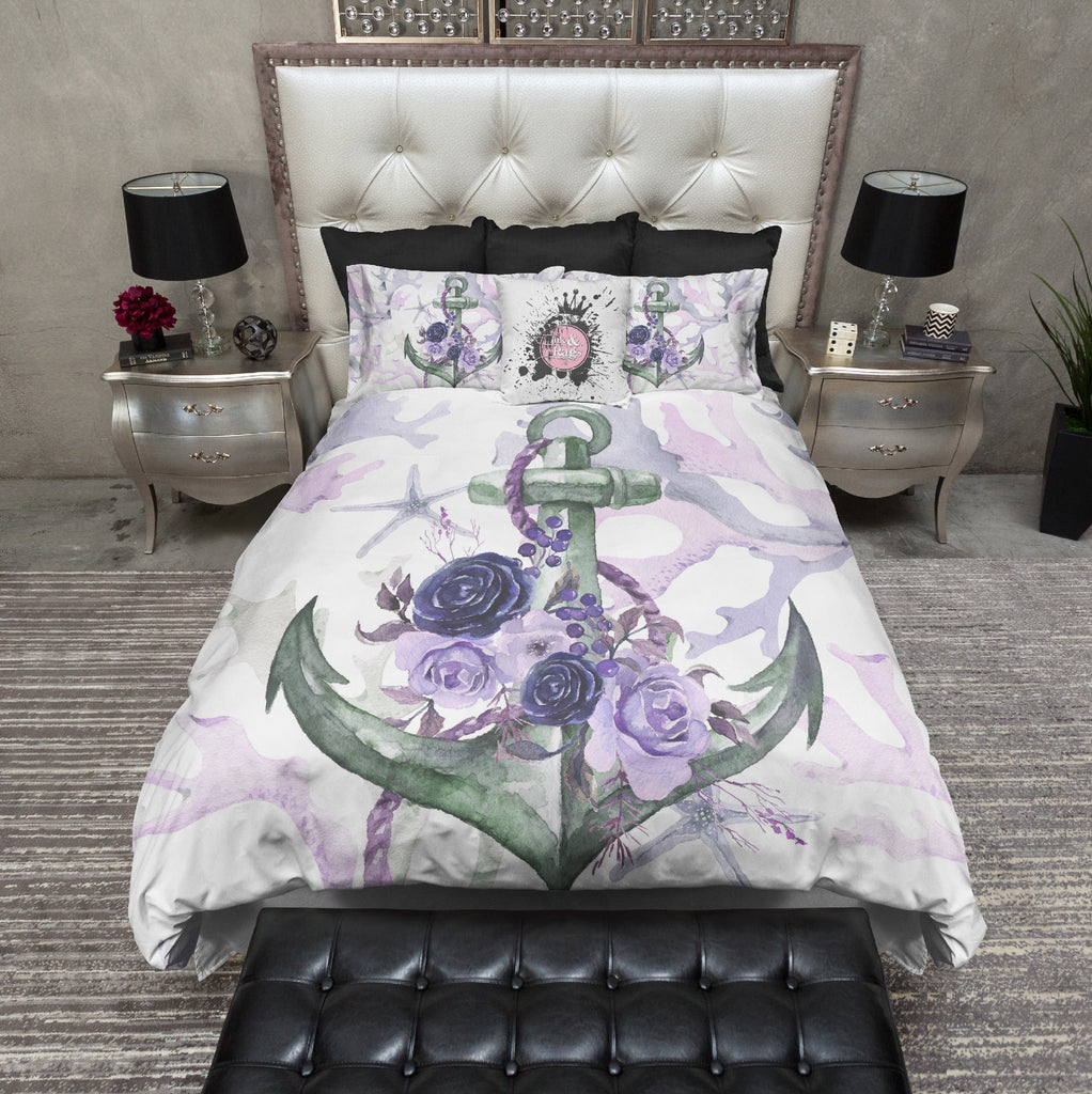 Green and Purple Anchor Rose Coral Starfish Nautical Bedding