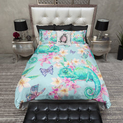 Tropical Flower Chameleon Butterfly Bedding