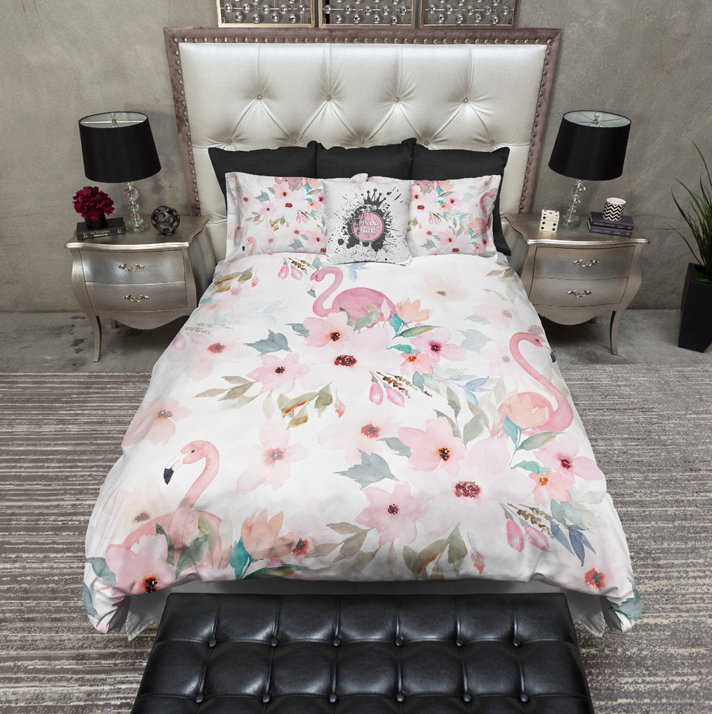 Watercolor Flamingo Floral Bedding Collection