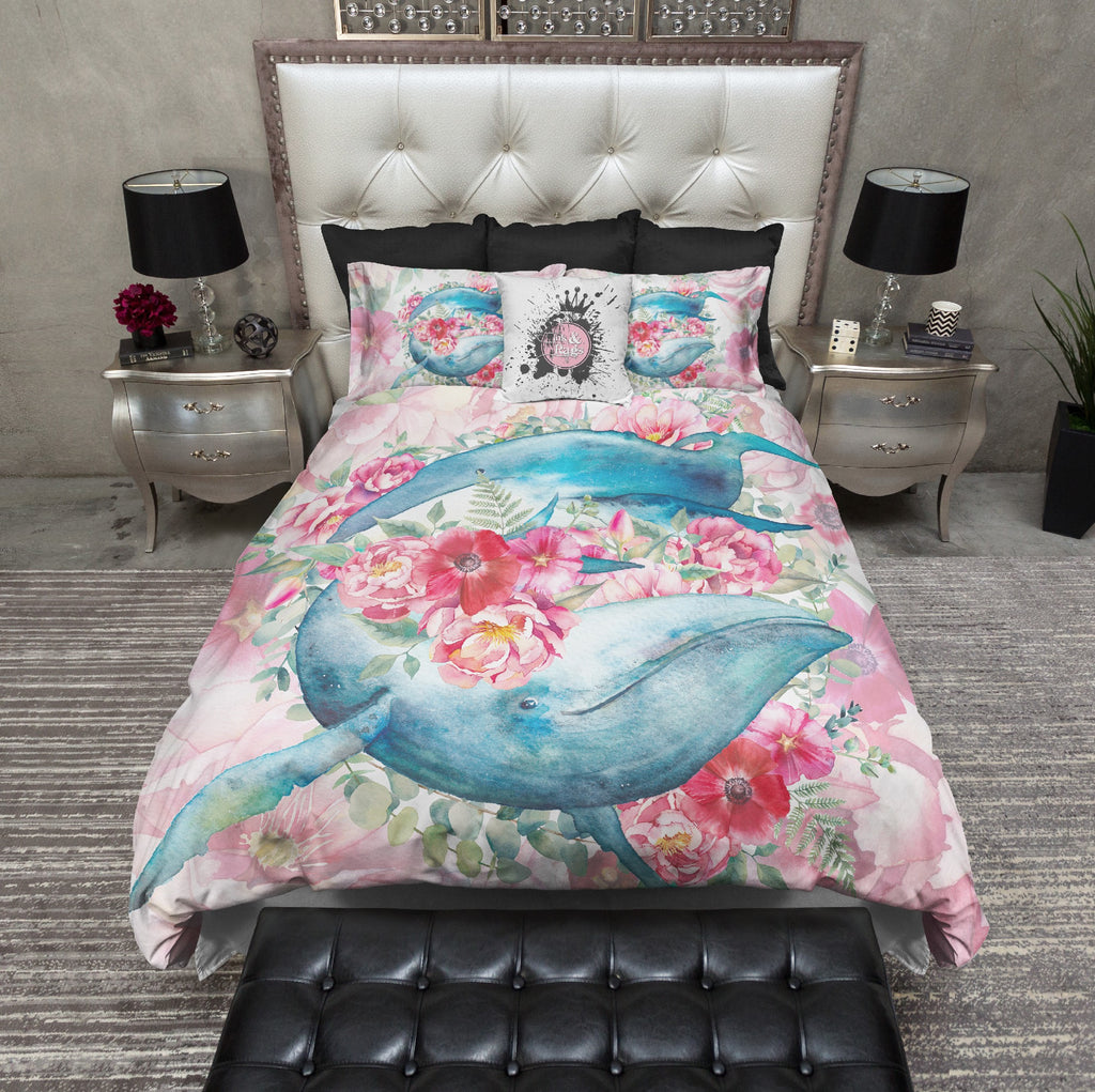 Blue Whale Floral Watercolor Bedding Collection