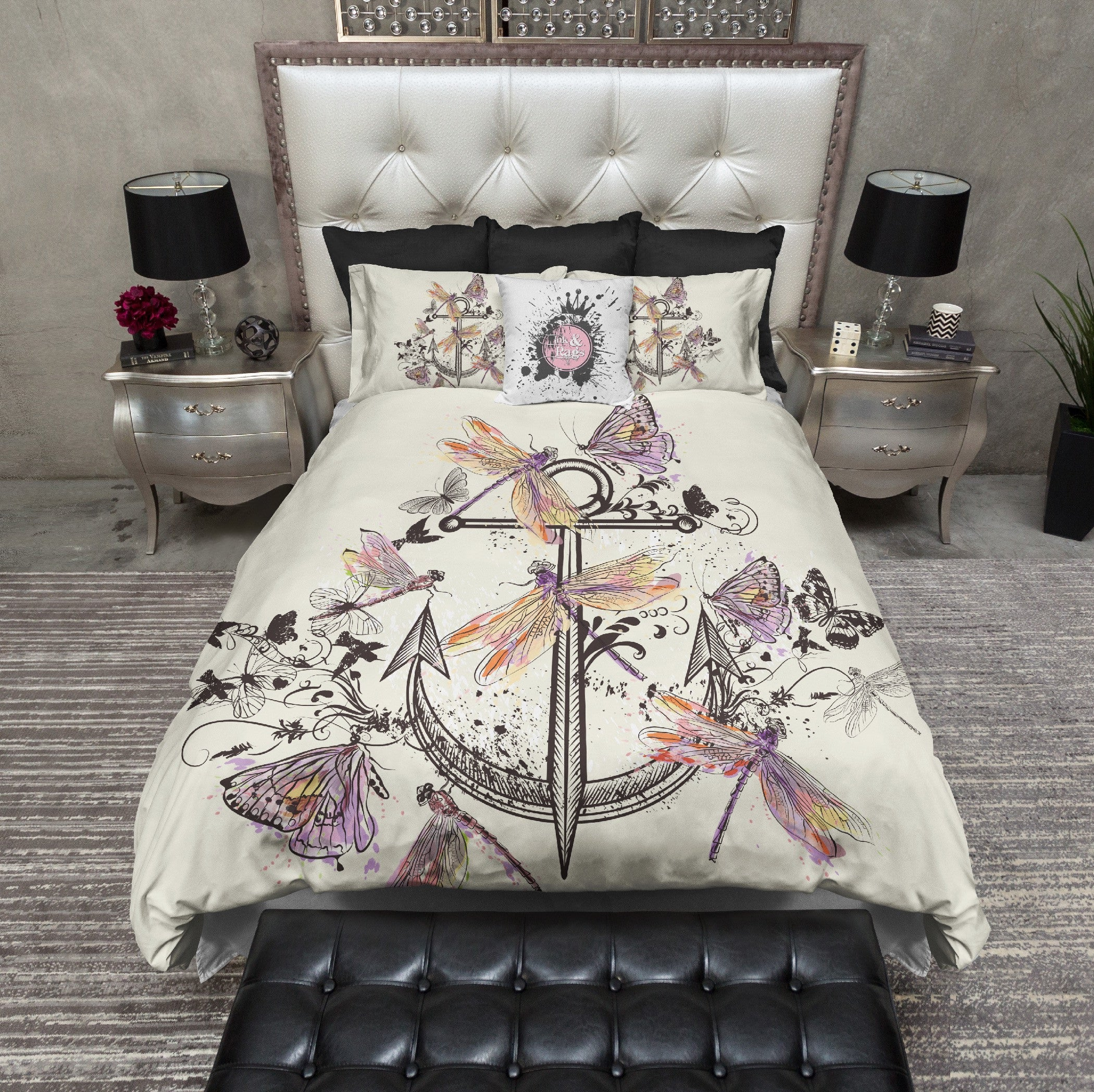 Anchor Butterfly Dragonfly Paint Splatter Bedding CREAM - Ink and Rags : dragonfly quilt cover - Adamdwight.com