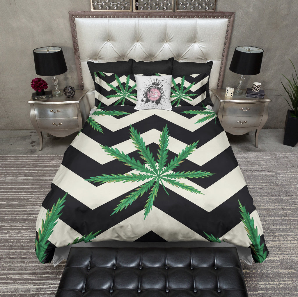Cannabis Leaf Chevron Stripe Bedding CREAM
